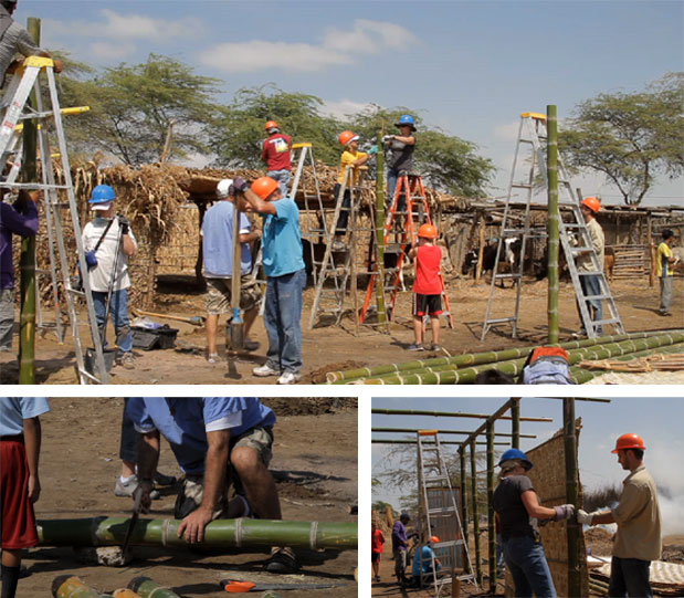 Missionaries from St. John the Baptist Catholic Church in Edmond don hard hats to build a new home for one of the parish families. The home is constructed with bamboo posts, grass walls, ply board and a tin roof. It takes almost a full day to build.