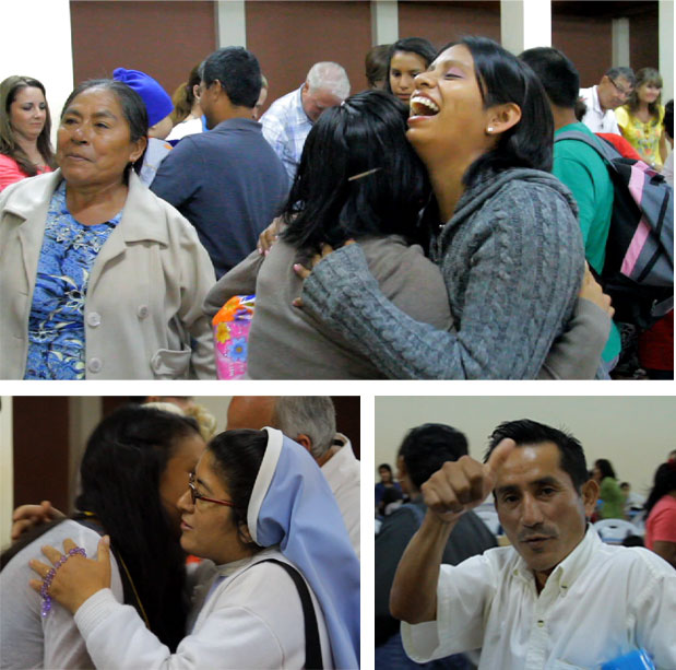 Missionaries host a dinner for staff members of Santisimo Sacramento and their families.