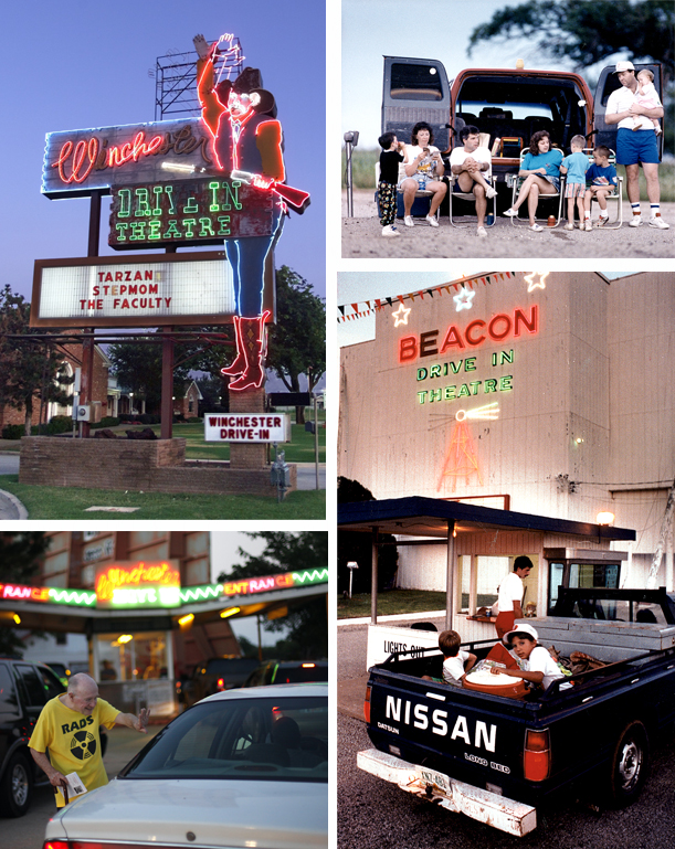 From top left, clockwise: The neon cowboy entices passersby to the Winchester Drive-In Movie Theater. Staff Photo by Steve Sisney; A family at Beacon Drive-In sit in lawn chairs; Customers enter the Beacon Drive-In in the back of a pickup. Staff Photos by Jim Argo; Bob Eufinger waves to cars at the Winchester Drive-In. Staff Photo by Sarah Phipps