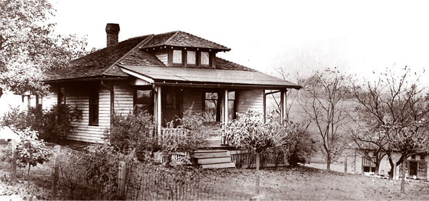 The farm home of Mrs. Emma Conkle near East Liverpool, Ohio, where the notorious Charles 'Pretty Boy' Floyd was slain by federal agents Oct. 22, 1934. Mrs. Conkle, unaware of Floyd's identity, gave him a meal. - Photo dated 10/24/1934